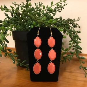 🛍SALE🛍 Coral Faceted 3 Stone Drop Earrings